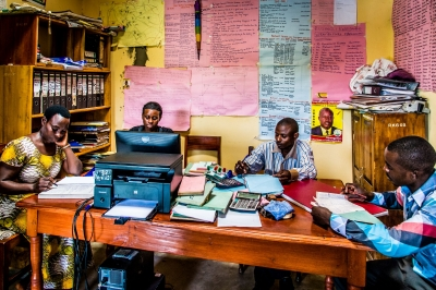 Coffee coop office in Uganda. Photo by Wim Opmeer, 2018 CGAP Photo Contest.